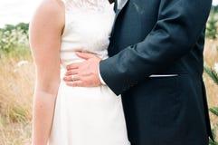 Bruid en Bruidegom Together op Huwelijksdag Stock Foto