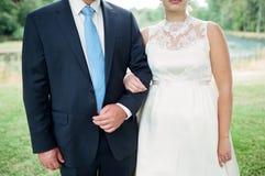 Bruid en Bruidegom Together op Huwelijksdag Stock Afbeeldingen