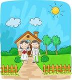 Bruid en bruidegom voor plattelandshuisje royalty-vrije illustratie