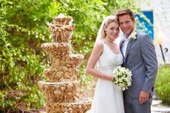 Bruid en Bruidegom At Wedding Ceremony Stock Afbeelding