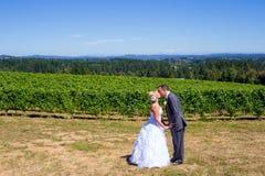 Bruid en Bruidegom Wedding Kiss Stock Fotografie