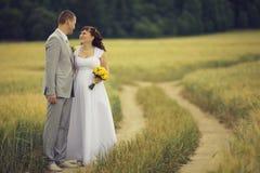 Bruid en bruidegomgangen bij aard Royalty-vrije Stock Fotografie