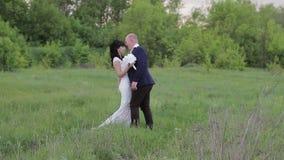 Bruid en bruidegomhuwelijk in park stock footage