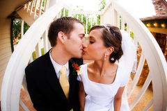 Bruid en bruidegomkus Stock Foto