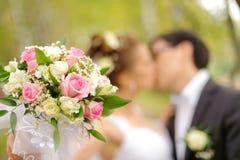 Bruid en bruidegomkus in park Stock Afbeelding