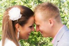 Bruid en bruidegomportret royalty-vrije stock afbeelding