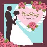 Bruid en bruidegomsilhouet, huwelijksuitnodiging, kaart, de tekening van het overzichtsbeeldverhaal Stock Afbeelding