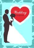Bruid en bruidegomsilhouet, huwelijksuitnodiging, kaart, de tekening van de overzichtscontour Royalty-vrije Stock Afbeeldingen