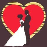 Bruid en bruidegomsilhouet, huwelijksuitnodiging, kaart, de vectortekening van het overzichtsbeeldverhaal Stock Afbeeldingen