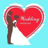Bruid en bruidegomsilhouet, huwelijksuitnodiging, kaart, vectoroverzichtstekening Royalty-vrije Stock Foto's