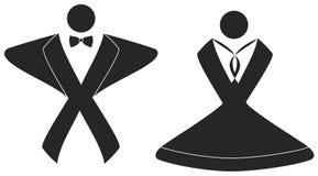 Bruid en Bruidegomteken. EPS beschikbaar dossier. Royalty-vrije Stock Foto's