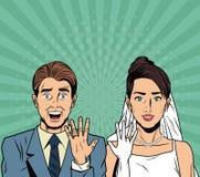 Bruid en bruidegomveiligheid van Internet van het pop-artbeeldverhaal, die online de baniking stock illustratie