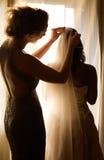 Bruid en bruidsmeisje Stock Foto's