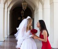 Bruid en haar Eerste bruidsmeisje royalty-vrije stock afbeelding