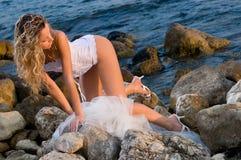 Bruid en het overzees Stock Foto