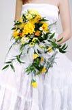 Bruid en huwelijksboeket Stock Afbeelding