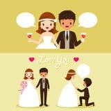 Bruid en Zwarte Huidbruidegom With Various Actions in Huwelijksdoek Royalty-vrije Stock Afbeelding