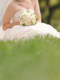 Bruid in Gras Stock Fotografie