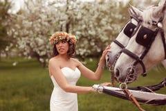 Bruid het spelen met witte paarden Royalty-vrije Stock Foto's
