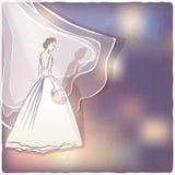 Bruid in huwelijkskleding vector illustratie
