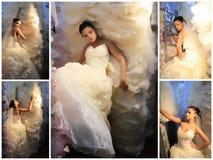 Bruid in huwelijkswinkel stock afbeeldingen