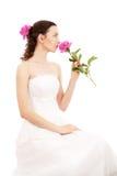 Bruid met bloemen Stock Afbeeldingen