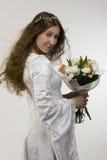 Bruid met bos van bloemen Royalty-vrije Stock Foto
