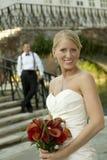 Bruid met bruidegom op achtergrond Stock Fotografie
