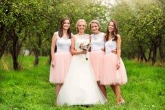 Bruid met bruidsmeisjes Royalty-vrije Stock Afbeeldingen