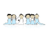 Bruid met bruidsmeisjes voor uw ontwerp Stock Foto