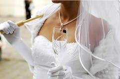 Bruid met champagneglas Royalty-vrije Stock Fotografie