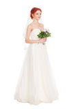 Bruid met een boeket van bloemen royalty-vrije stock fotografie