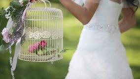 Bruid met een decoratieve kooi stock footage