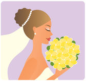 Bruid met het boeket Stock Fotografie