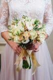 Bruid met huwelijksboeket Royalty-vrije Stock Foto's