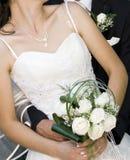 Bruid met huwelijksboeket Stock Foto's