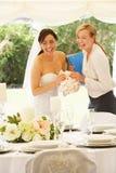 Bruid met Huwelijksontwerper In Marquee royalty-vrije stock fotografie