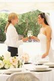 Bruid met Huwelijksontwerper In Marquee stock fotografie