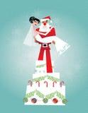 Bruid met Kerstman Stock Fotografie