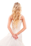 Bruid met lang eerlijk haar van rug royalty-vrije stock afbeelding