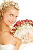 Bruid met luxeboeket stock afbeeldingen
