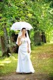 Bruid met paraplu Stock Afbeeldingen
