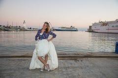 Bruid met plaidoverhemd Stock Foto