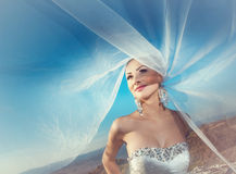 Bruid met sluier op wind Stock Foto