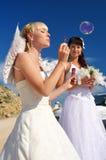 Bruid met soepbellen royalty-vrije stock afbeeldingen