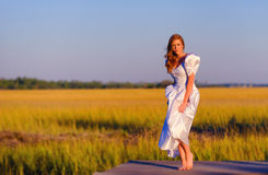 Bruid in moerasland in Charleston, Zuid-Carolina stock fotografie