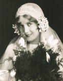 Bruid op haar huwelijksdag royalty-vrije stock foto