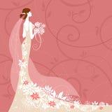 Bruid op roze achtergrond Royalty-vrije Stock Foto's