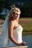 Bruid op zonsondergang Stock Foto's