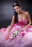 Bruid in roze Stock Foto's